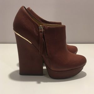 Boutique 9 Brown Leather Wedges/Heels